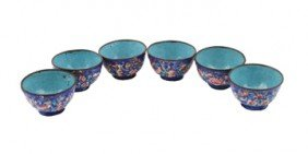 Six Chinese Qing Dynasty Enamelled Cups