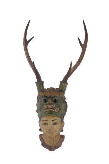 Carved polychrome Asian head