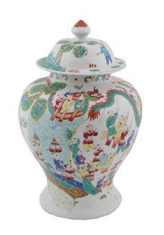 Large nineteenth-century Chinese polychrome urn and dom