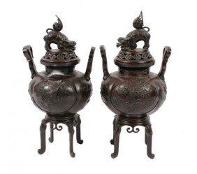 Pair Of Large Oriental Bronze Censers