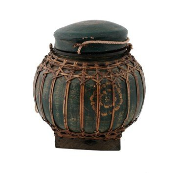 Enamelled basket weave container