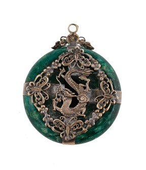 Silver plated and malachite pendant