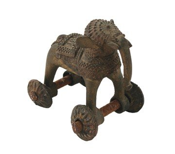 Nineteenth-century Oriental bronze toy elephant