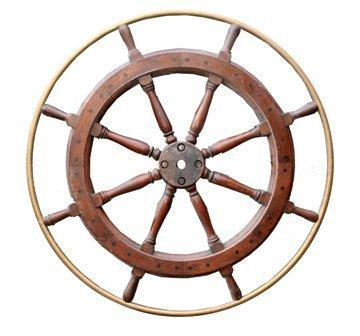 7: Nineteenth-century brass and mahogany ships wheel