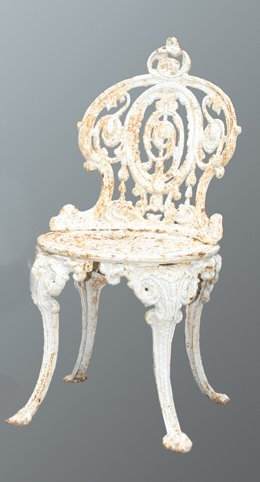 11: Set of five Victorian cast iron chairs