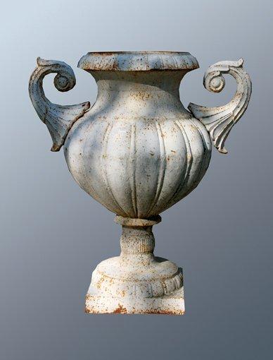 15: Pair of large cast iron garden urns