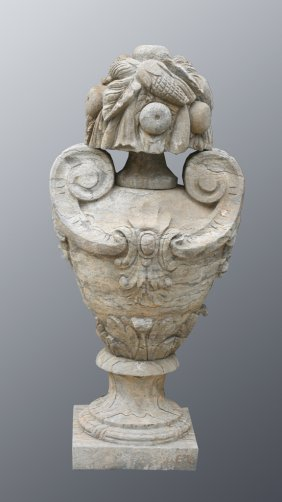 Pair Of Carved Neoclassical Stone Urns