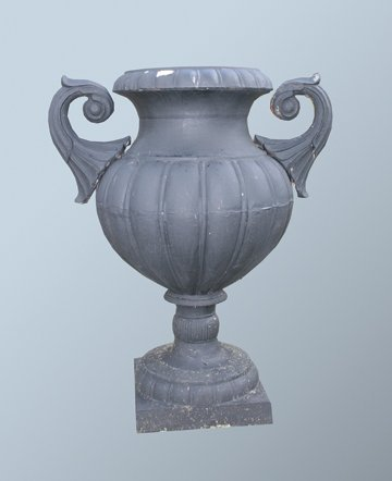 35: Pair of large cast iron garden urns