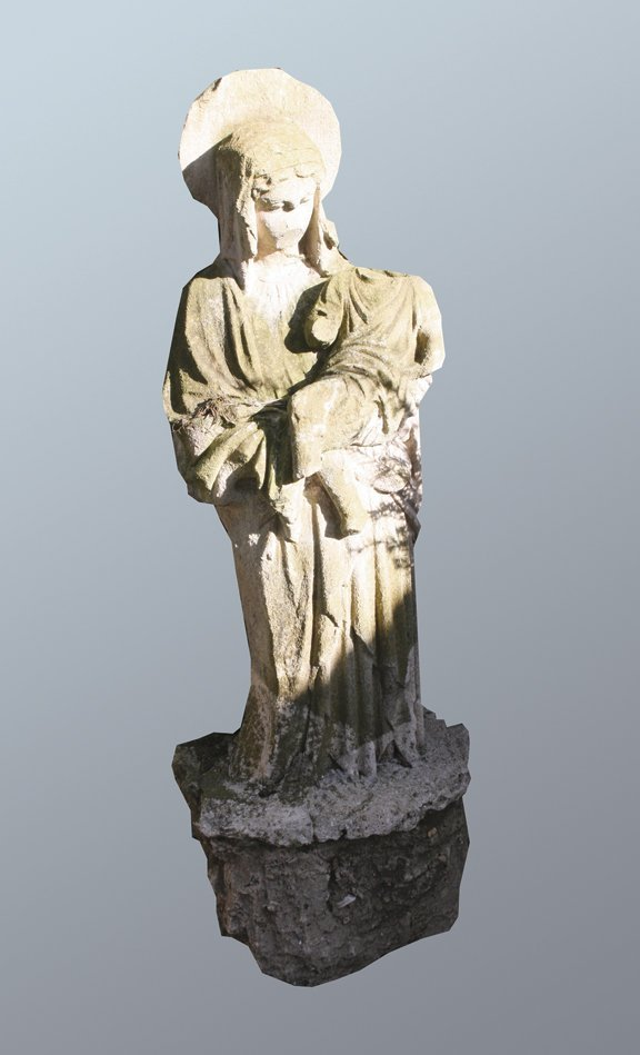 36: Antique sculpted stone figure of Madonna and child