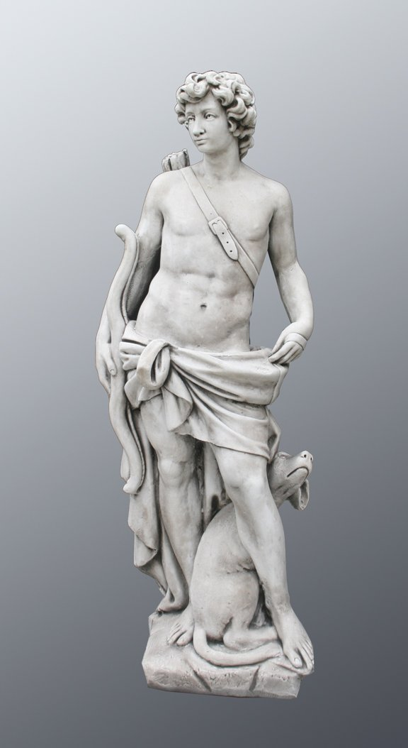 40: Large composite stone sculpture of hunter figure