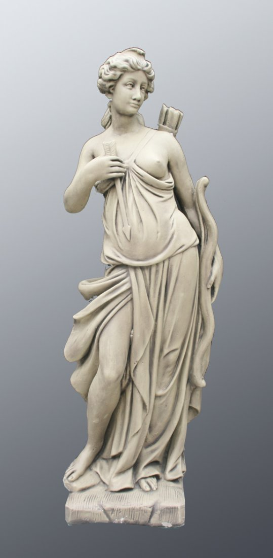 41: Large composite stone figure of Diana the huntress