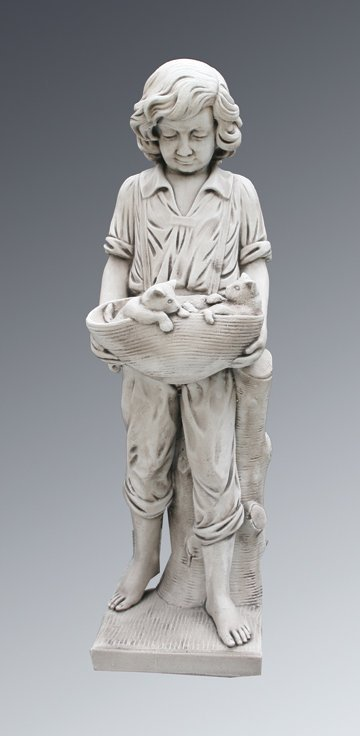 42: Large composite stone figure of a young boy holding