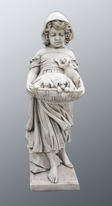 43: Large composite stone figure of a young girl holdin