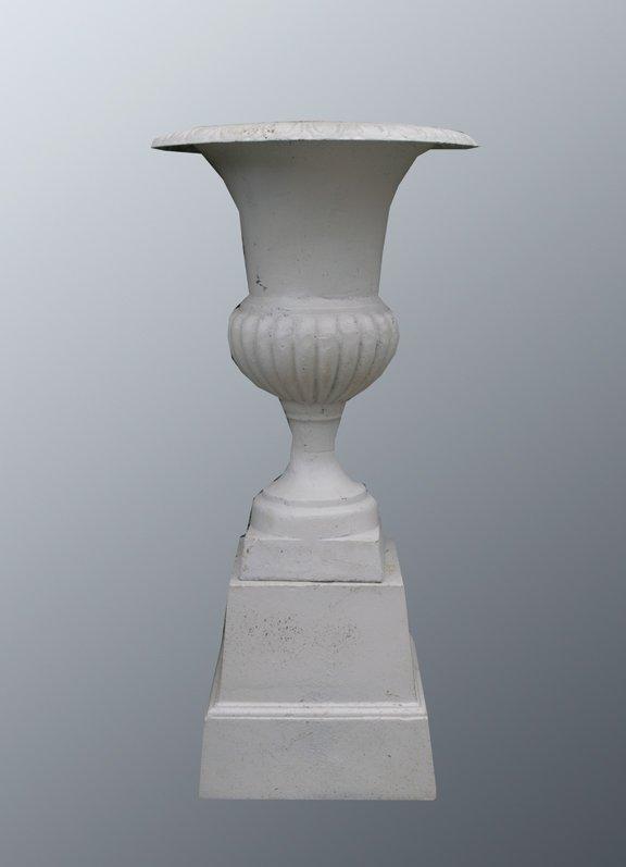 45: Pair of vase shaped cast iron jardinieres