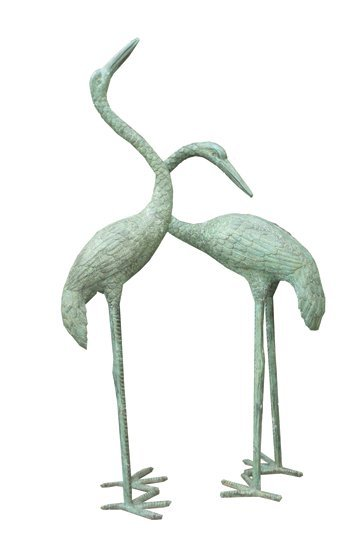 75: Pair of large bronze storks