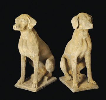 83: Pair composite stone hunting dogs