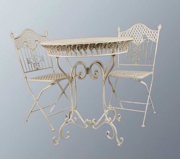 91: Cast iron patio table and four chairs