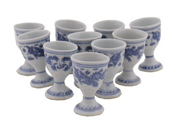 628: Set of ten Chinese blue and white egg cups