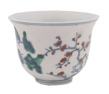 641: Chinese clobbered enamelled cup