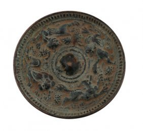 Small Antique Chinese Bronze Mirror