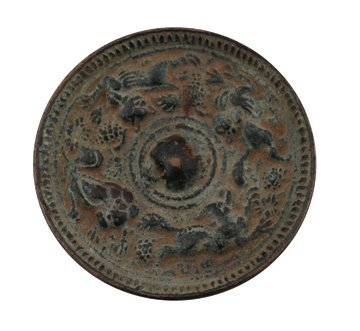 651: Small antique Chinese bronze mirror