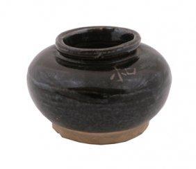 Early Chinese Treacle Glaze Brush Pot