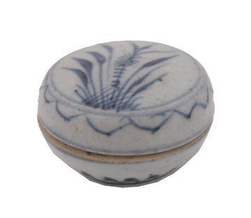 656: Chinese Qing dynasty blue and white ink pot