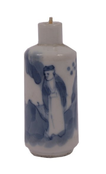 659: Kangxi period blue and white snuff bottle