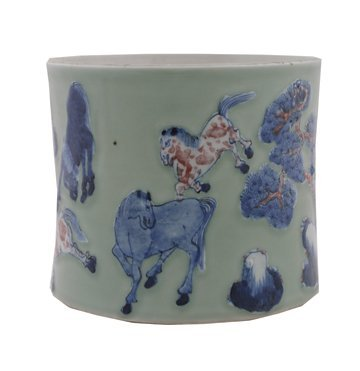 665: Chinese celadon blue and copper red brush pot