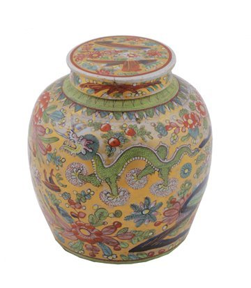 666: Chinese late 1700's polychrome clobbered jar and c