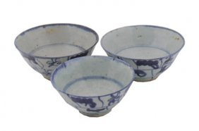 Three Chinese Blue And White Bowls