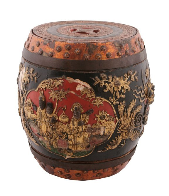 676: Nineteenth-century Chinese carved wood rice barrel
