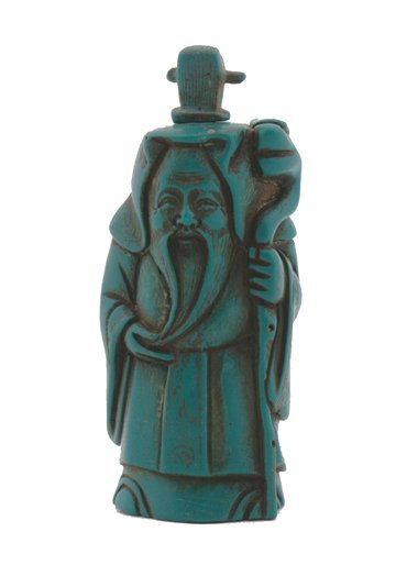694: Chinese hand carved turquoise character snuff bott