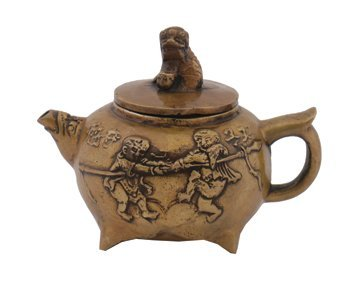697: Small Chinese bronze tea pot