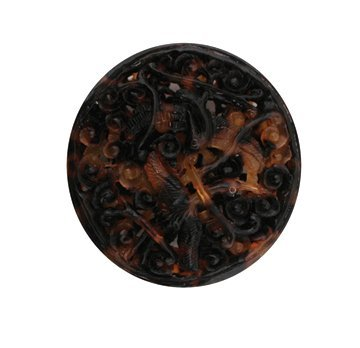 713: Qing dynasty tortoiseshell carved scent pouch