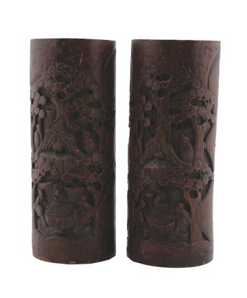 714: Pair of Qing dynasty bamboo vases