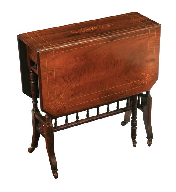 9: Edwardian rosewood and marquetry Sutherland table