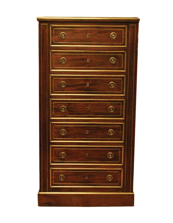 12: Edwardian period mahogany and brass inlaid tall boy