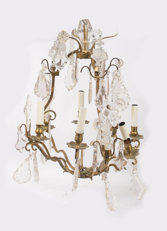 22: Large eight branch and crystal chandelier