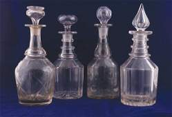 86 Assorted lot of four Georgian glass decanters