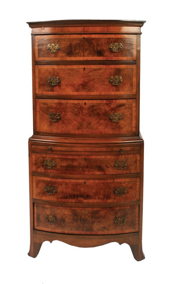 771: Edwardian George III style walnut and satinwood cr