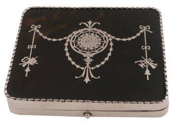 Silver and tortoiseshell jewellery box