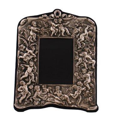 Nineteenth century cherub embossed silver photo frame