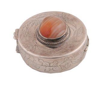 Engraved silver pill box
