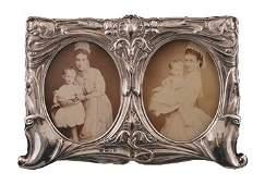 Nineteenth century Art Nouveau double silver photo fram