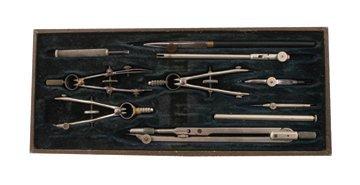 Antique Halden premier cased drawing instruments