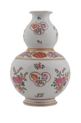 Eighteenth century Chinese famille rose double gourd va