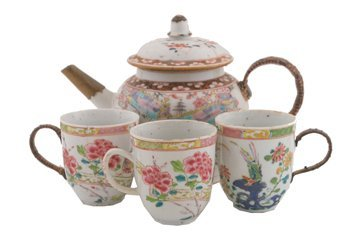 Eighteenth century Chinese famille rose teapot and thre
