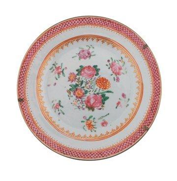 Three Eighteenth century Chinese famille rose plates