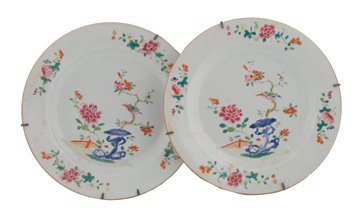 Pair of Eighteenth century Chinese famille rose plates